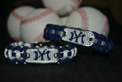 New York Yankees Paracord Bracelet w/ MLB Dog Tag and Metal