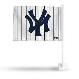 New York Yankees Pinstripes 2-sided Car Flag w/pole Auto Tru
