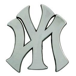 New York Yankees Premium Solid Metal Chrome Raised Auto Embl
