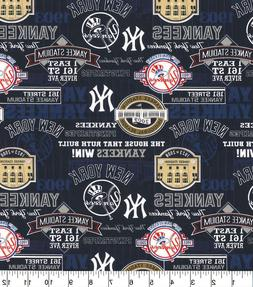 "NEW YORK YANKEES STADIUM COTTON FABRIC FQ 1/4yd 18""x22"""