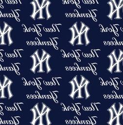 New York Yankees Blue MLB Baseball Sports Team Cotton Fabric