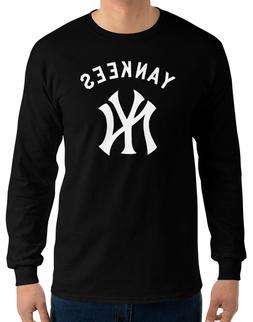 NY YANKEES New York Black Long Sleeve T-Shirt White Graphic