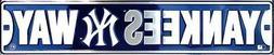 "NEW YORK YANKEES STREET SIGN 24"" X 5"" EMBOSSED METAL YANKEES"
