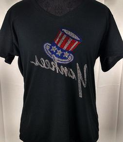 Women's  New York Yankees  Rhinestone Baseball V-neck T-Shir