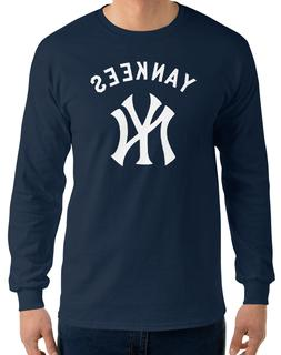 YANKEES New York NY Navy Long Sleeve T-Shirt White Graphic C