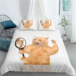 Yellow Cat Looks In Mirror 3D Quilt Duvet Doona Cover Set Pi
